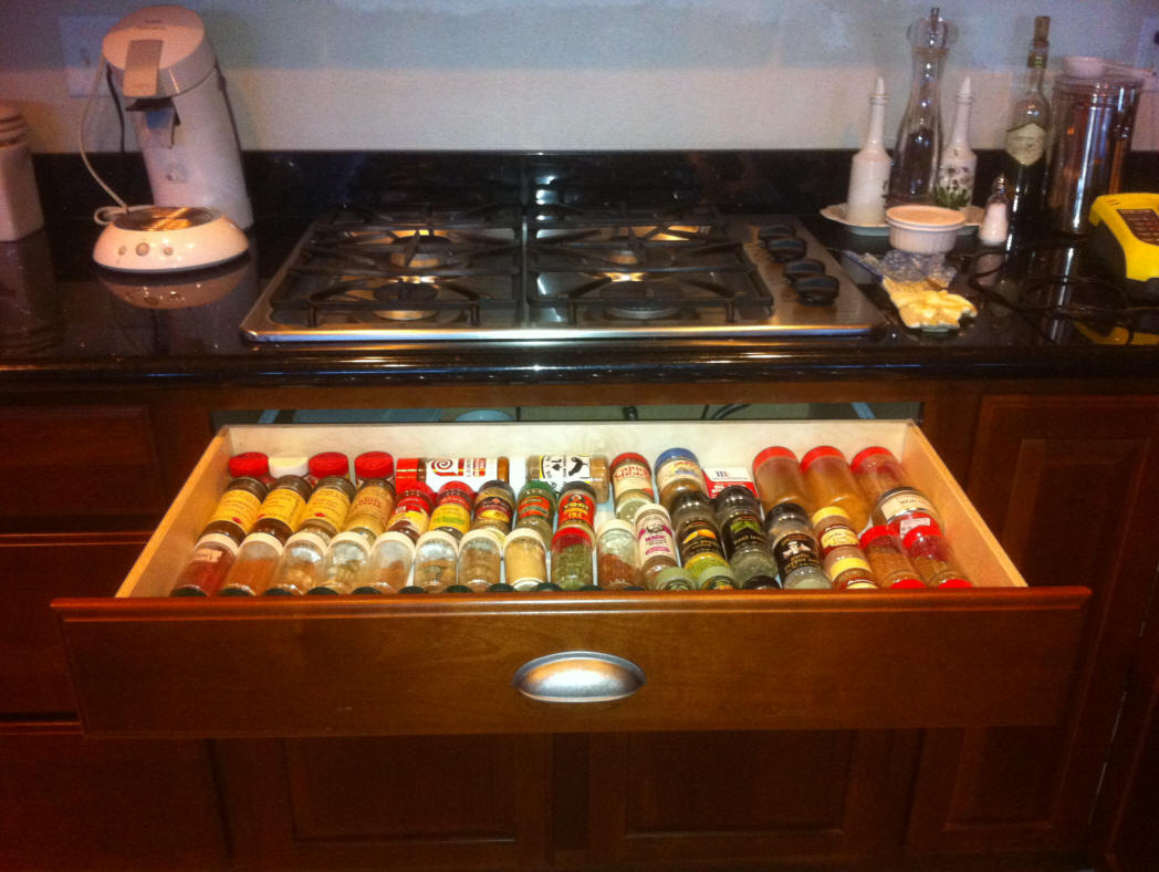Pull Out Shelf Used As A Spice Drawer Under Range