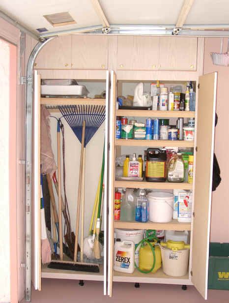 ... getting organized with a workbench for garage storage cabinet household  supplies cleaning shelves ...