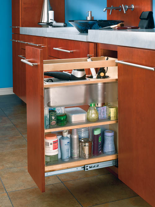 that slide cabinet pullout grooming organizer for bathroom vanity