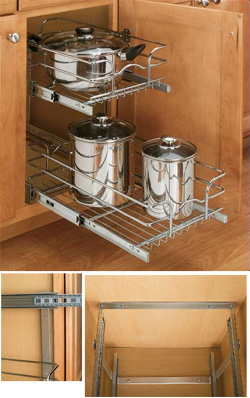 shelves that slide double pull out wire basket. Black Bedroom Furniture Sets. Home Design Ideas