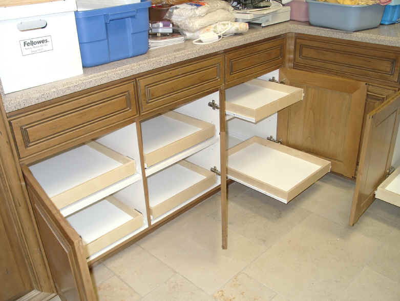 Kitchen cabinet organization slide outs roll outs for Sliding drawers for kitchen cabinets