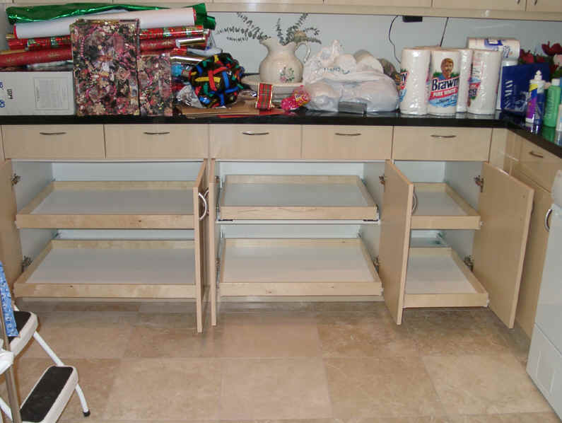 ... Click to Enlarge and view yet another ex≤ of sliding shelves from Shelves That Slide & kitchen cabinet organization slide-outs roll-outs