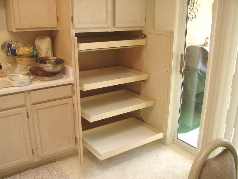 Before having slide out shelving in kitchen pantry cabinet After installing pull out shelves for pantry storage & Kitchen pantry cabinet pull out shelf storage sliding shelves