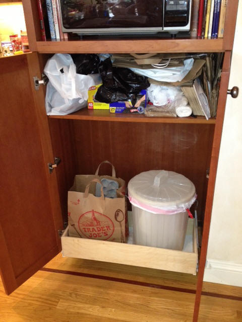 Pull out dog food container storage