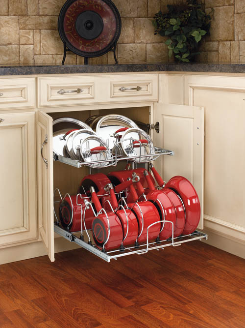 Base Cabinet Pullout 2 Tier Cookware Organizer